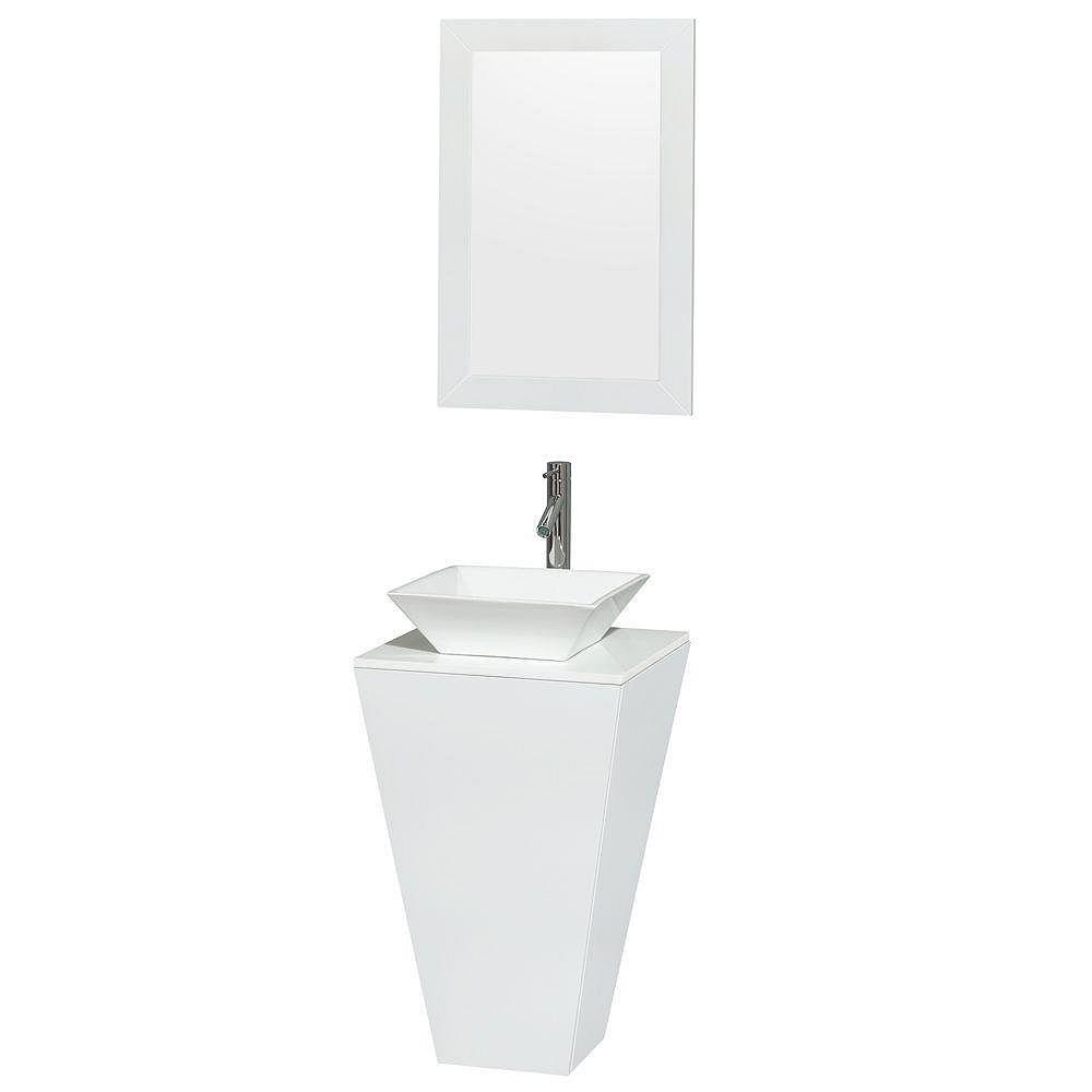 Wyndham Collection Meuble simple Esprit blanc brillant, comptoir blanc, lavabo porcelaine blanche, miroir