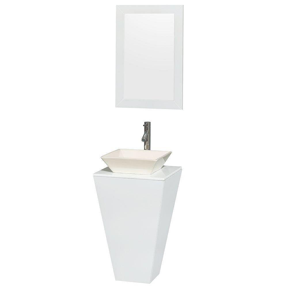 Wyndham Collection Meuble simple Esprit blanc brillant, comptoir blanc, lavabo porcelaine bone, miroir