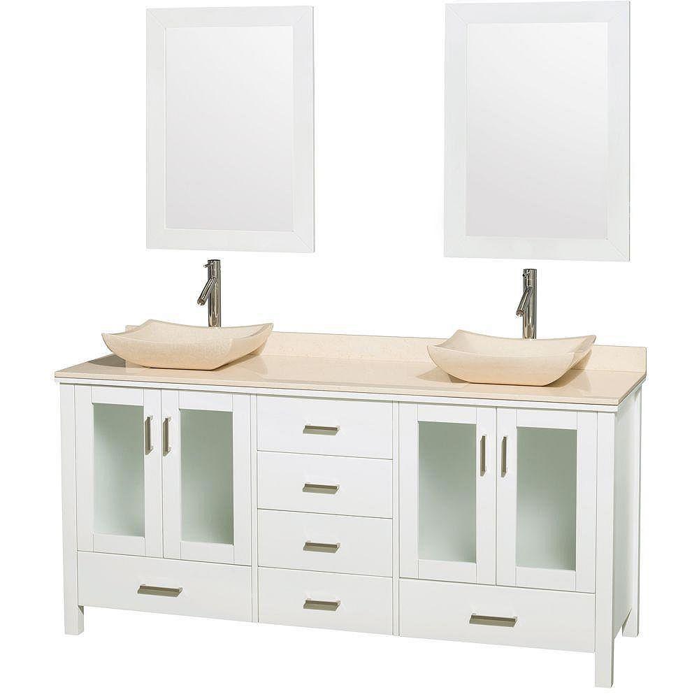 Wyndham Collection Lucy 72 po. Meuble double blanc, comptoir et lavabos marbre ivoire, miroirs 24 po