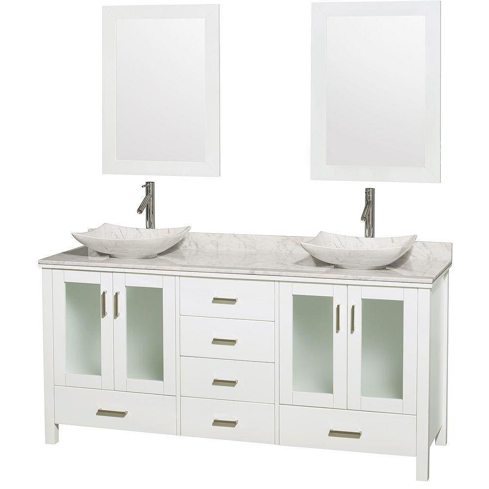 Wyndham Collection Lucy 72 po. Meuble double blanc, comptoir blanc Carrare, lavabos blanc Carrare, miroirs 24 po