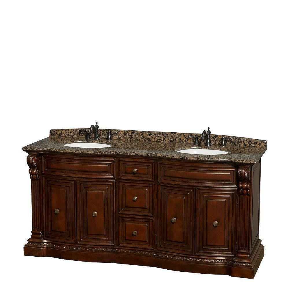 Wyndham Collection Roxbury 72-inch W 4-Door Vanity in Brown