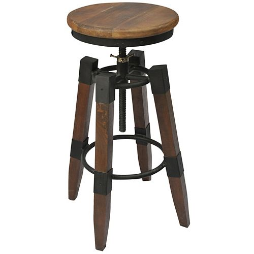 Renfrew Solid Wood Brown Contemporary Low Back Armless Bar Stool with Brown Solid Wood Seat