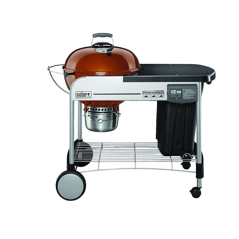Weber Performer Deluxe 22-inch Charcoal BBQ in Copper with Steel Cart