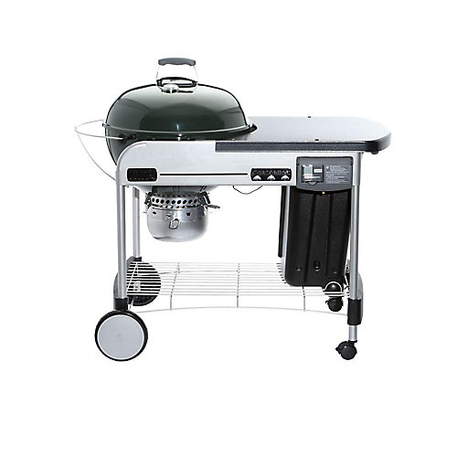 Performer Deluxe 22-inch Charcoal BBQ in Green with Steel Cart