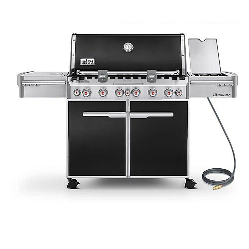 Summit E-670 6-Burner Natural Gas BBQ in Black with Built-In Thermometer and Rotisserie