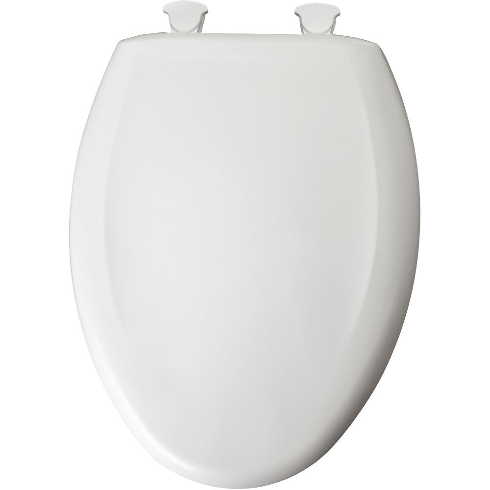 Bemis Elongated Closed Front Toilet Seat in Crane White with Easy Clean and Change Hinge