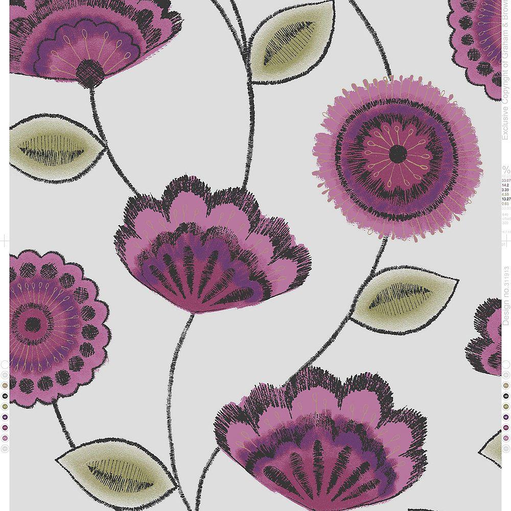 Graham & Brown Romani Papier Peint Rose/Pourpre/Vert