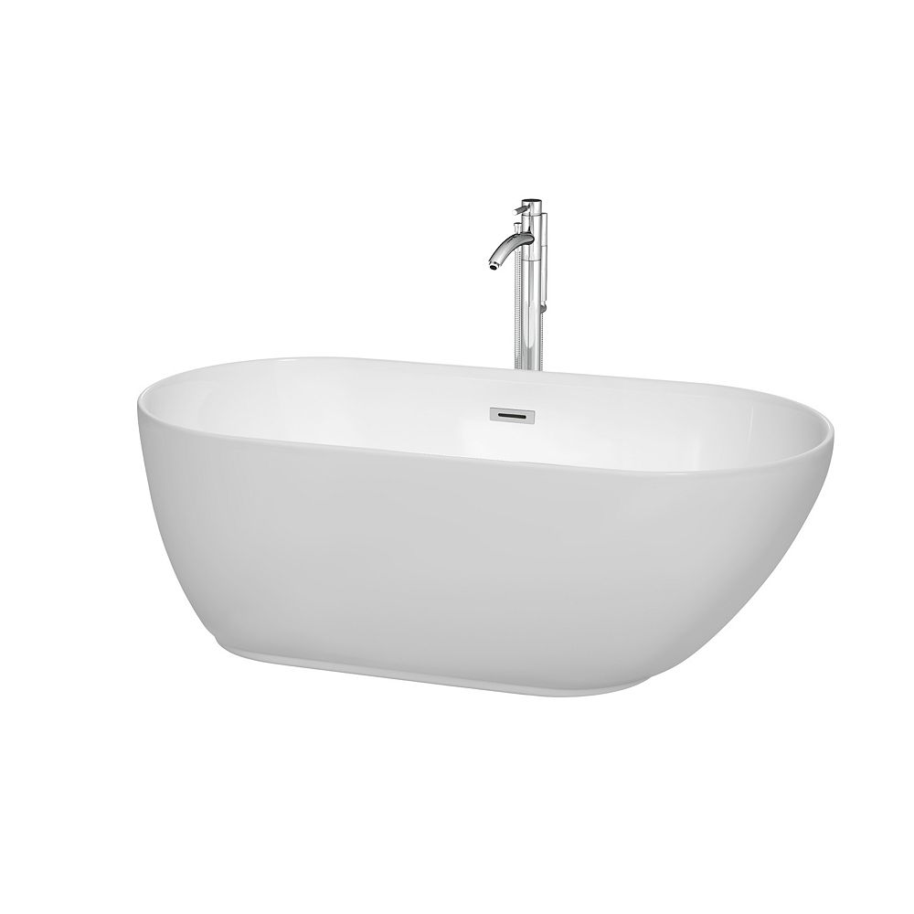Wyndham Collection Melissa 5 Feet Freestanding Soaker Bathtub with Chrome Trim and Mounted Faucet