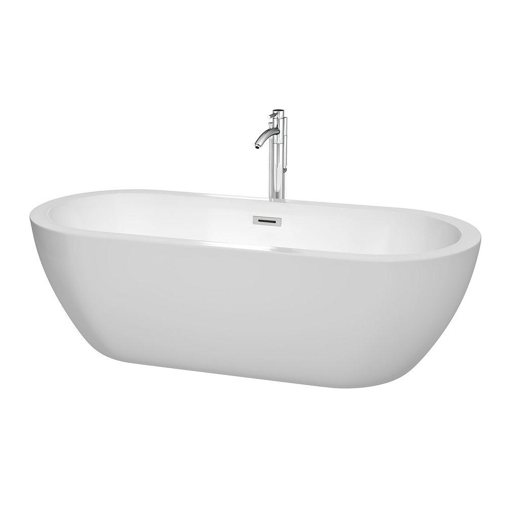 Wyndham Collection Soho 6 Feet Acrylic Freestanding Flatbottom Bathtub in White