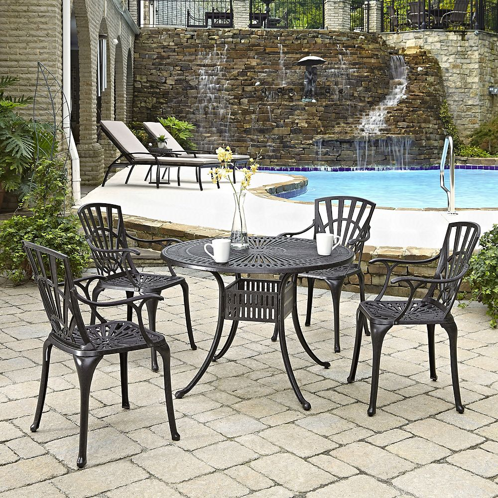 Home Styles Largo 5-Piece 42-inch Patio Dining Set with Arm Chairs in Charcoal