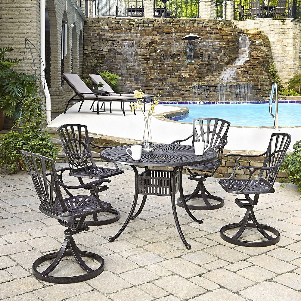 Home Styles Largo 5-Piece 42-inch Dining Set with Swivel Chairs in Charcoal