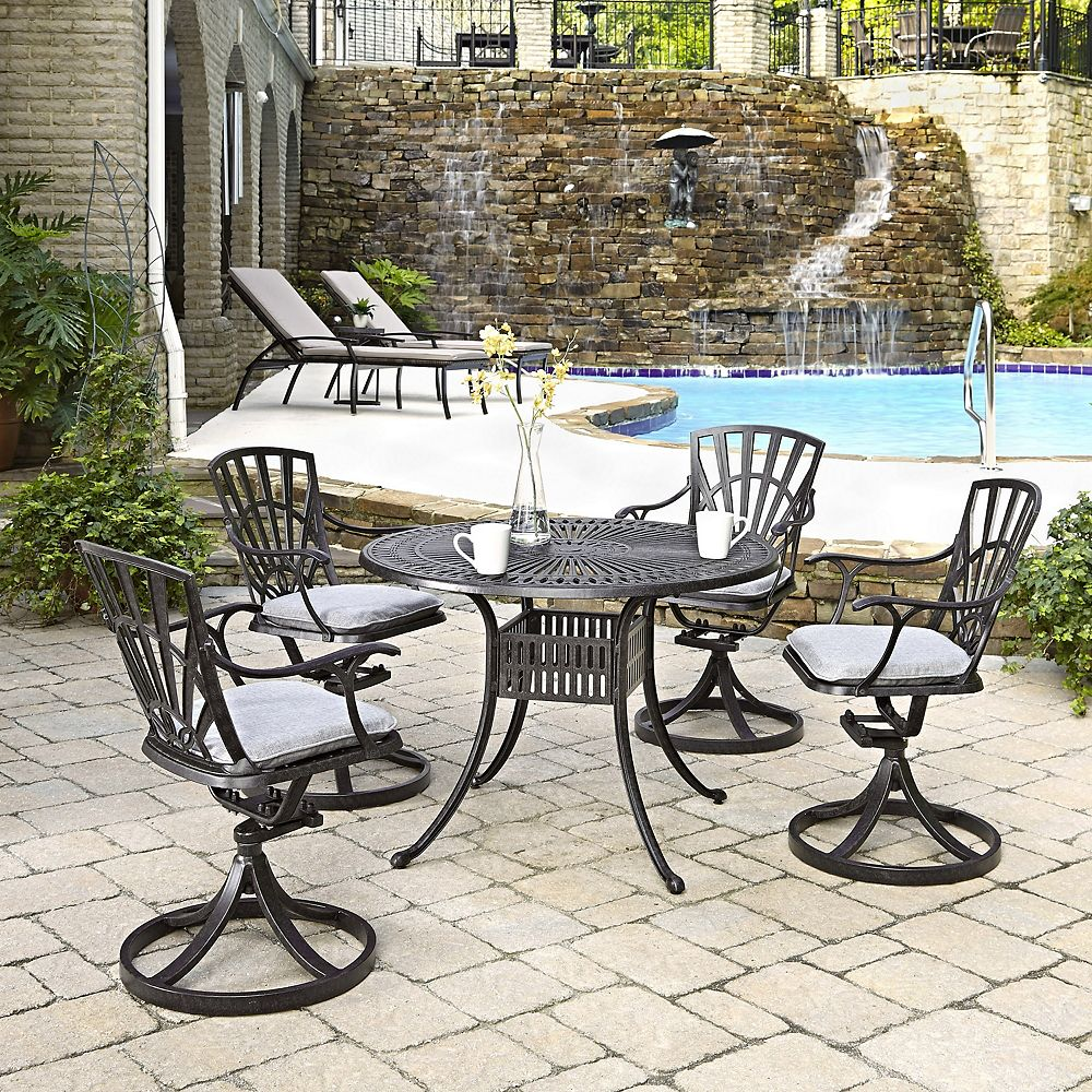 Home Styles Largo 5-Piece 42-inch Dining Set with Cushioned Swivel Chairs in Charcoal