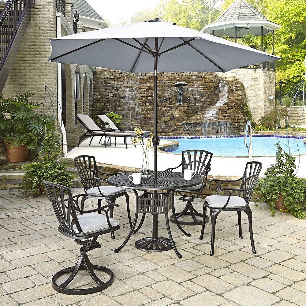 Home Styles Largo 5-Piece 42-inch Dining Set with Cushioned Chairs & Umbrella in Charcoal