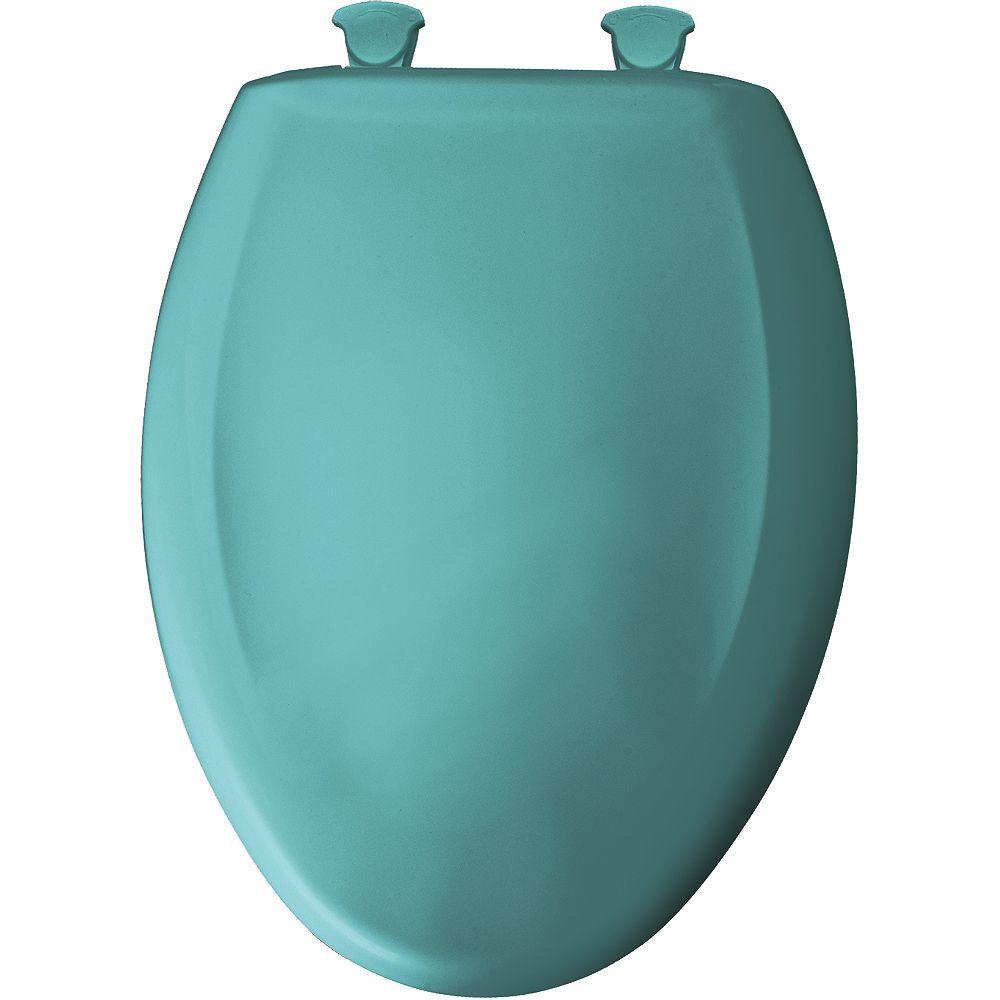 Bemis Elongated Closed Front Toilet Seat in Classic Turquoise with Easy Clean and Change Hinge