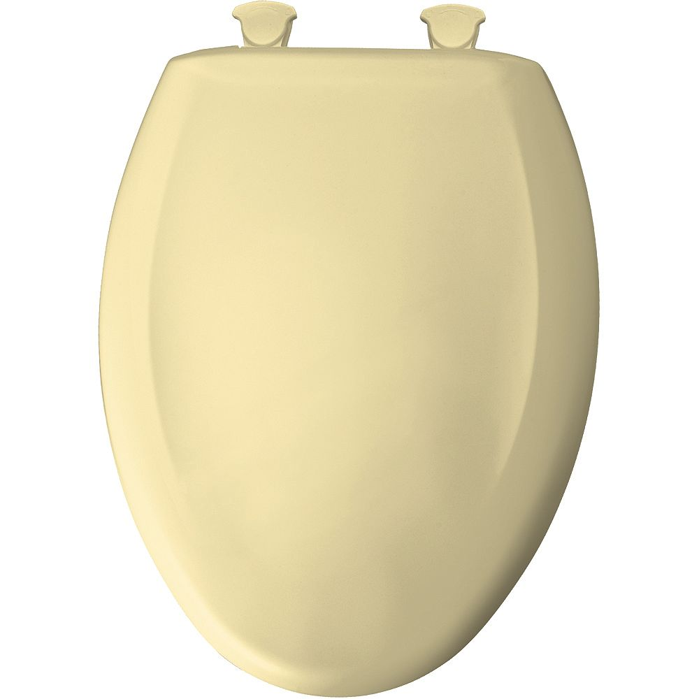 Bemis Elongated Closed Front Toilet Seat in Sunlight with Easy Clean and Change Hinge