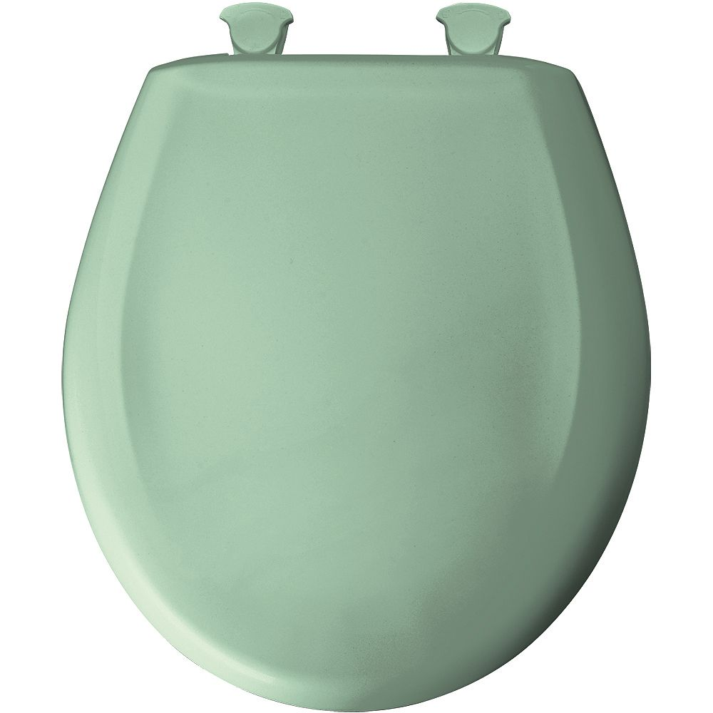 Bemis Round Plastic Toilet Seat with Whisper Close and Easy Clean & Change Hinge in Sea Green