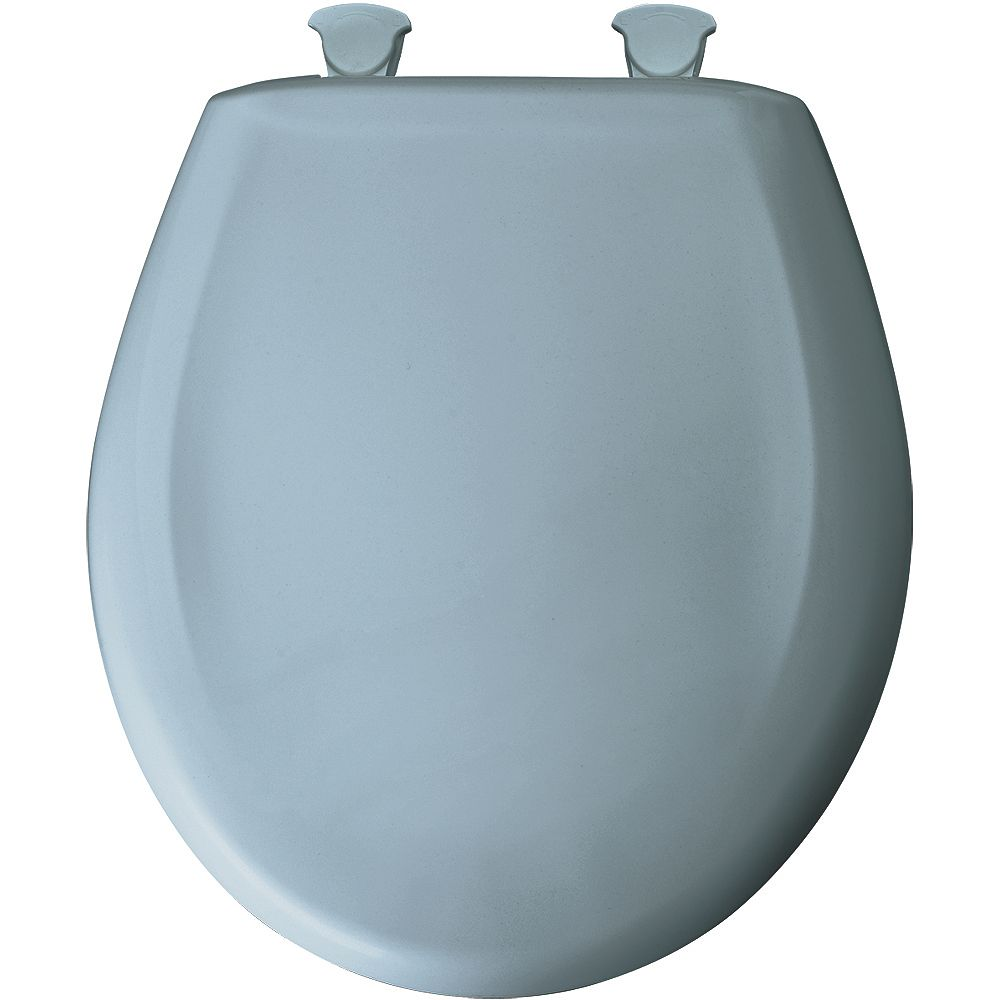 Bemis Round Plastic Toilet Seat with Whisper Close and Easy Clean & Change Hinge in Cerulean Blue