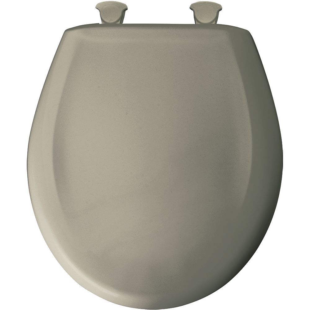 Bemis Round Plastic Toilet Seat with Whisper Close and Easy Clean & Change Hinge in Tender Grey