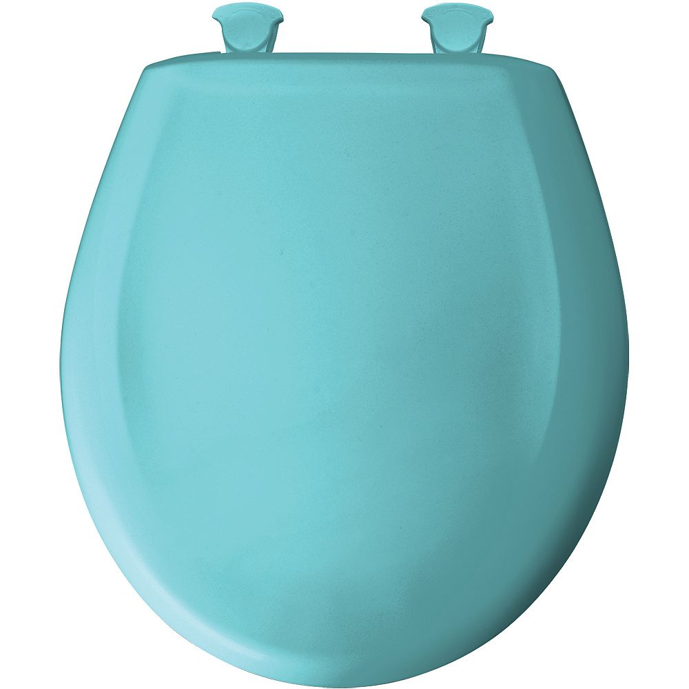 Bemis Round Plastic Toilet Seat with Whisper Close and Easy Clean & Change Hinge in Surf Green