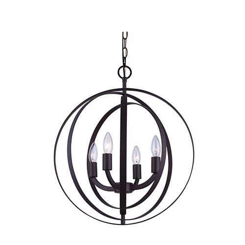 Luminaire suspendu sphérique, bronze huilé, 4 ampoules, 60 W, avec anneaux de métal concentriques