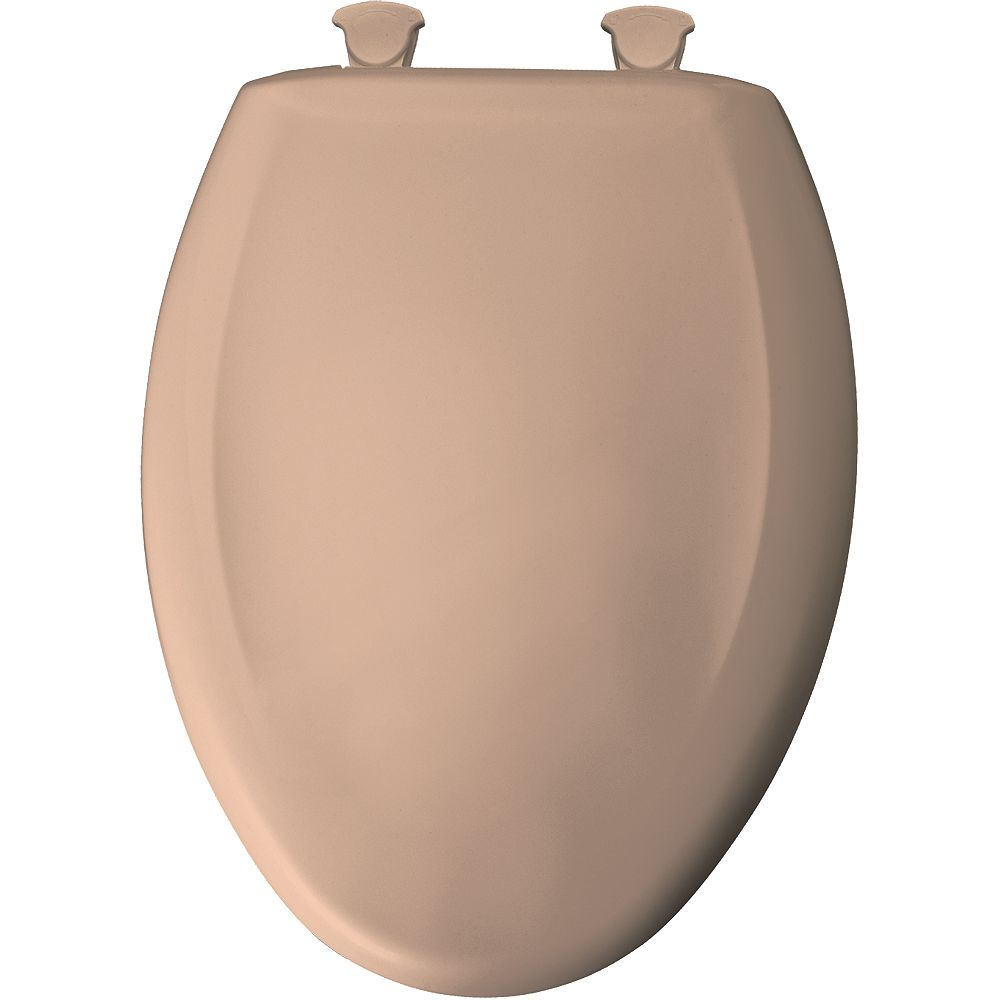 Bemis Elongated Closed Front Toilet Seat in Brown/Tan with Easy Clean and Change Hinge