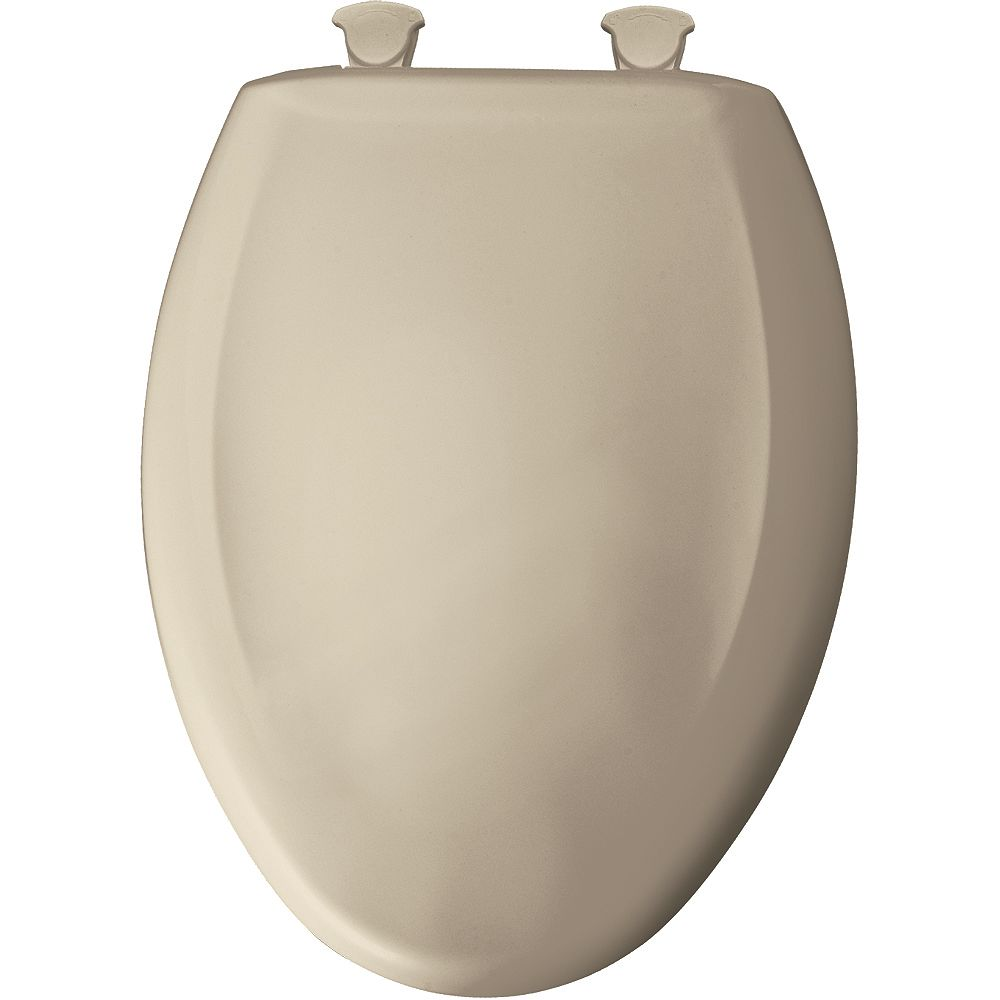Bemis Elongated Closed Front Toilet Seat in Creme with Easy Clean and Change Hinge