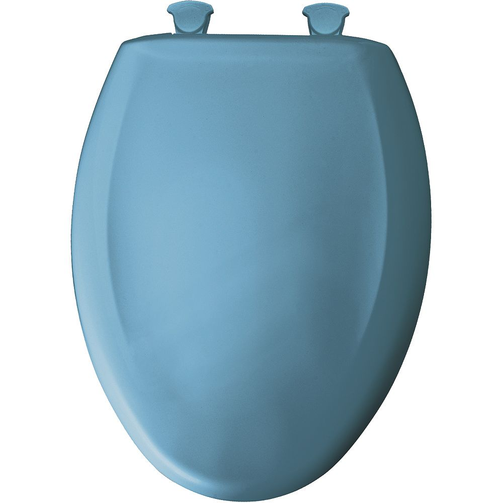 Bemis Elongated Closed Front Toilet Seat in New Orleans Blue with Easy Clean and Change Hinge