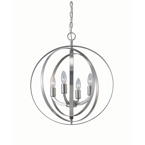 Home Decorators Collection 4-Light 60W Brushed Nickel Sphere Pendant with Concentric Metal Rings