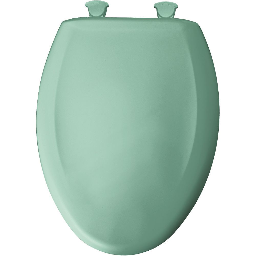 Bemis Elongated Closed Front Toilet Seat in Ming Green with Easy Clean and Change Hinge
