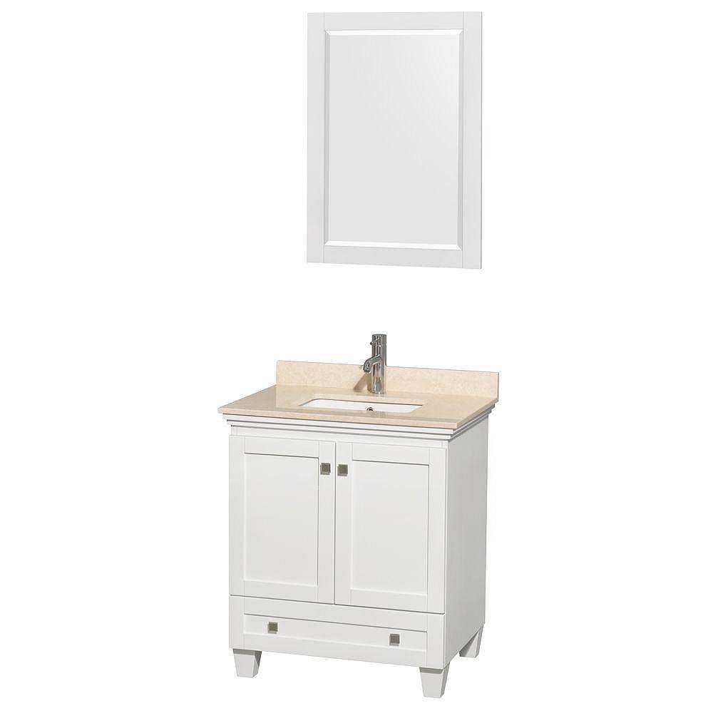 Wyndham Collection Acclaim 30 po. Meuble simple blanc, comptoir marbre ivoire, lavabo encastré, miroir 24 po