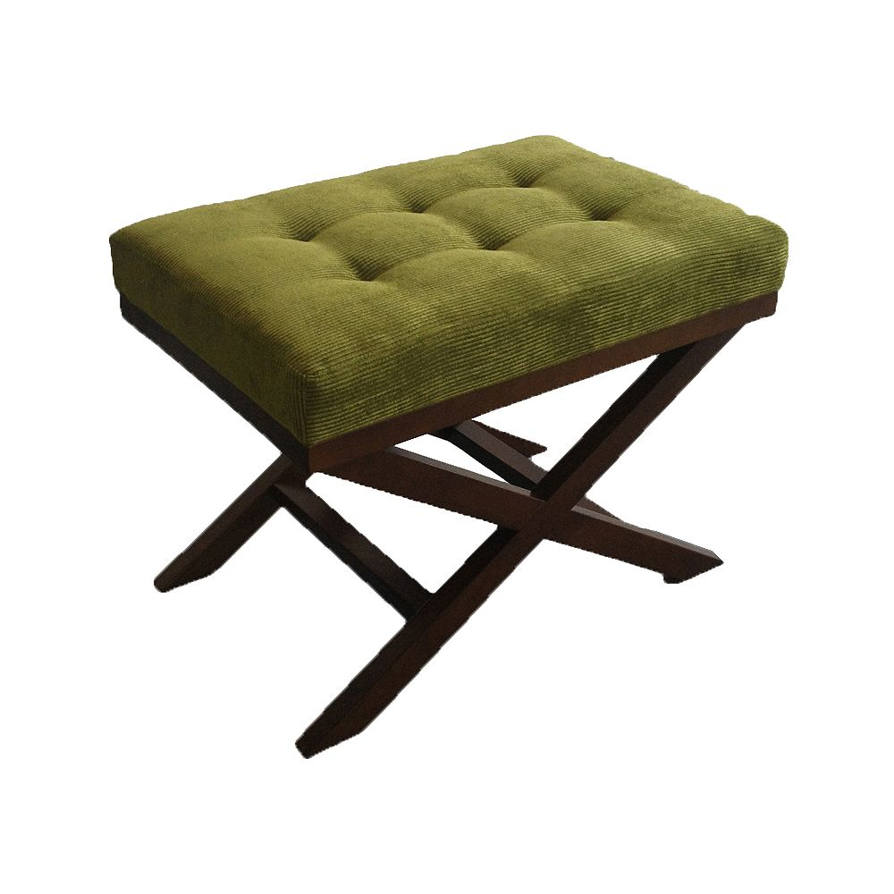 JR Home Collection Olive Green Microfiber Cord X-Leg Ottoman