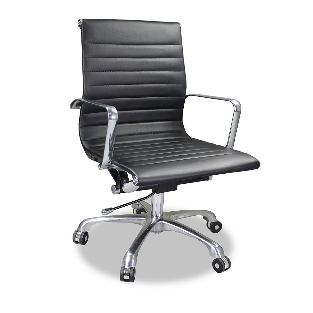 JR Home Collection Black Ribbed Office Chair