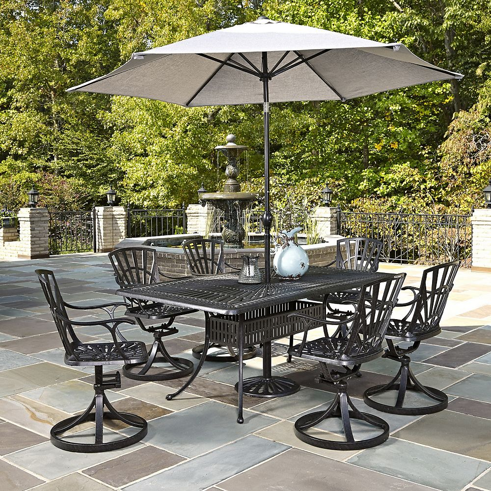 Home Styles Largo 7-Piece Rectangular Patio Dining Set with Swivel Chairs & Umbrella in Charcoal