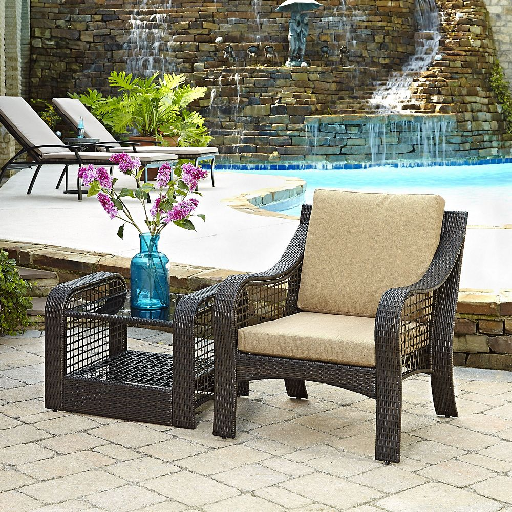 Home Styles Lanai Breeze Collection Patio Accent Chair and End Table