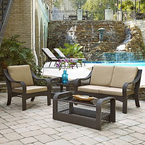 Lanai Breeze Collection Patio Conversation Set with Loveseat, Accent Chair, End Table and Coffee Table