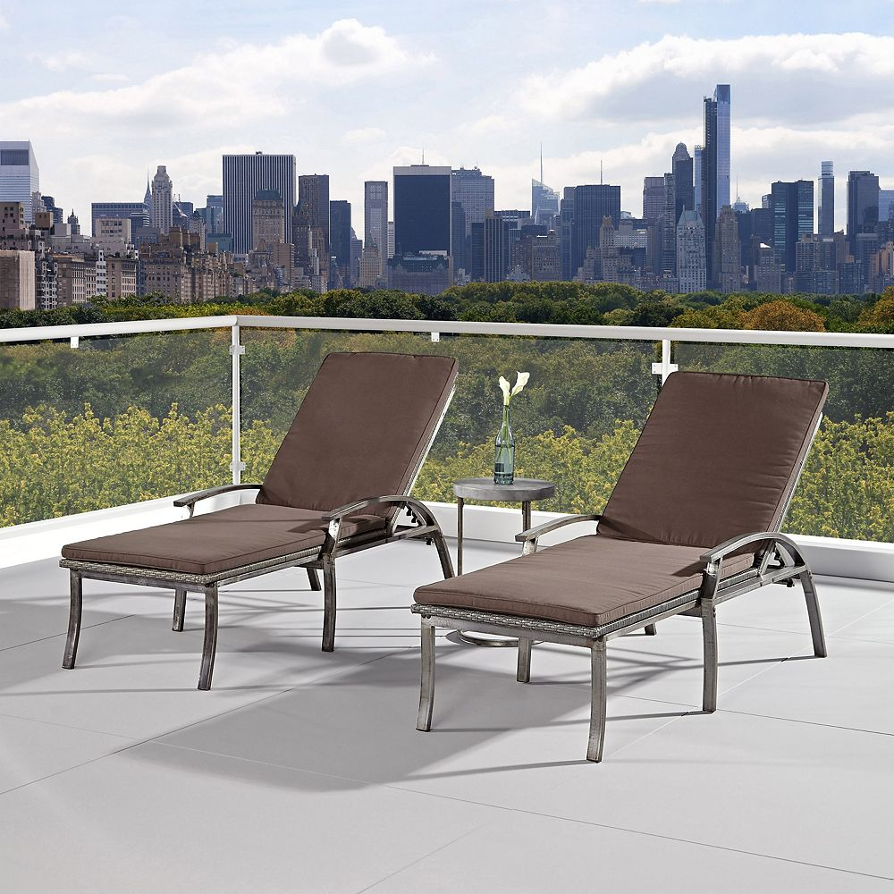 Home Styles Two Urban Outdoor Chaise Lounge Chairs and Accent Table