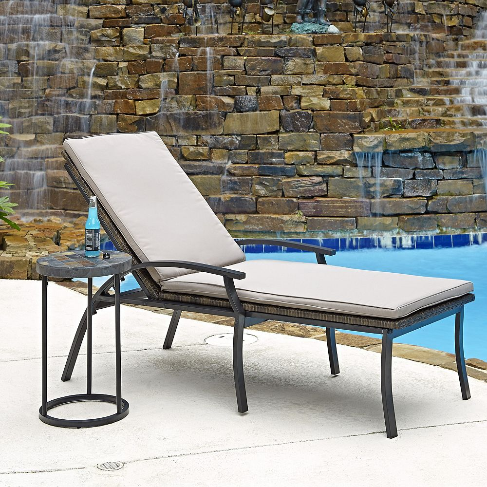 Home Styles Two Laguna Collection Patio Chaise Lounge Chairs and Accent Table
