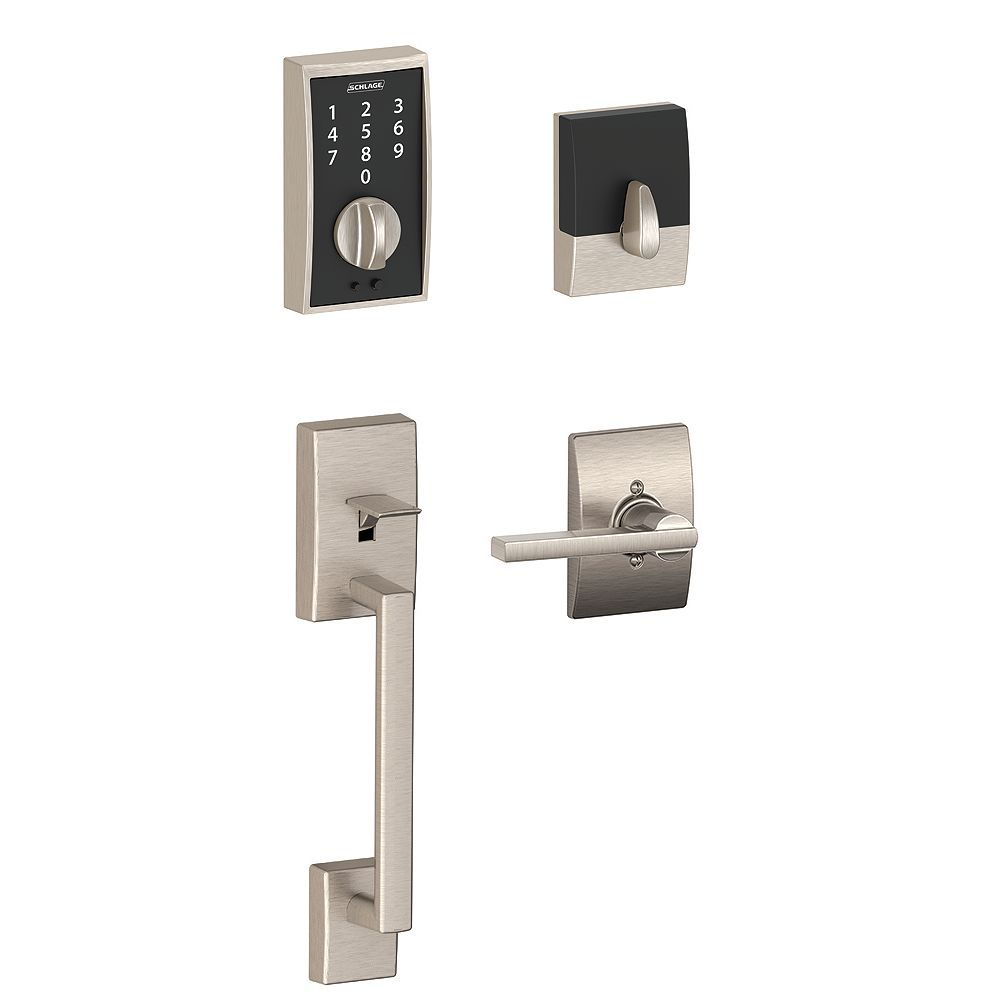 Schlage Century Satin Nickel Electronic Keyless Touchscreen Deadbolt and Handleset with Latitude Lever Rated AAA