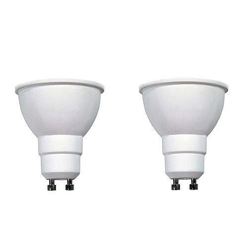 Ecosmart Ampoule à DEL GU10 à faisceau large et à intensité réglable commandée à distance, blanc brillant (3 000K), équivalant à 50 W (paquet de 2)