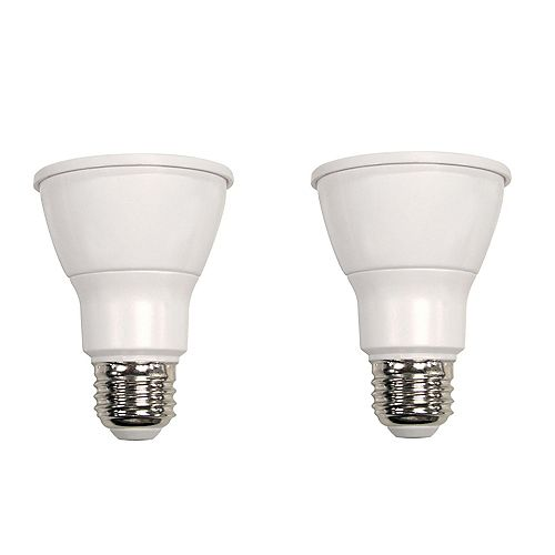 Ecosmart Ampoule à DEL PAR20 à faisceau large et à intensité réglable commandée à distance, lumière naturelle (5000K), équivalant à 50 W (paquet de 2)