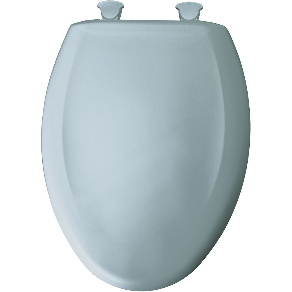 Bemis Elongated Closed Front Toilet Seat in Heron Blue with Easy Clean and Change Hinge