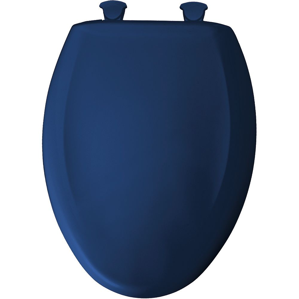 Bemis Elongated Closed Front Toilet Seat in Colonial Blue with Easy Clean and Change Hinge