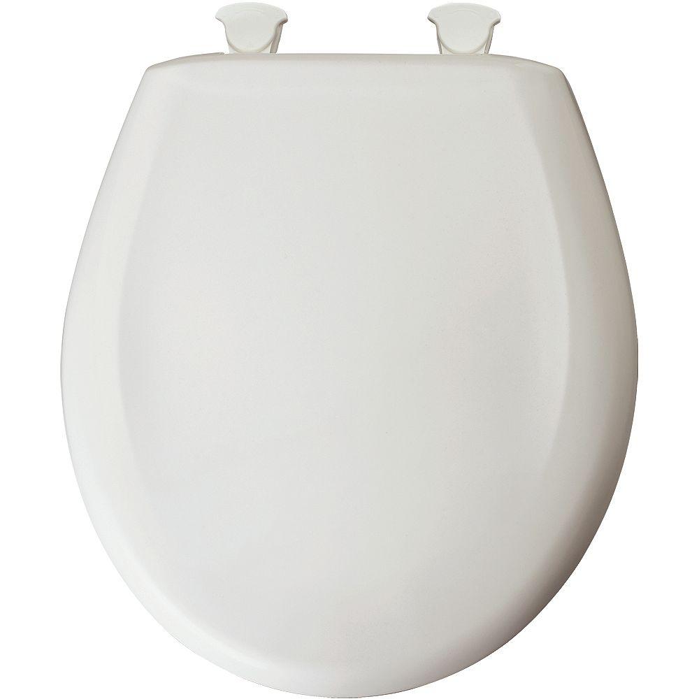 Bemis Siège de Toilette Rond en Plastique avec charnière Whisper,Close avec Easy,Clean & Change et STA-TITE - Blanc Euro