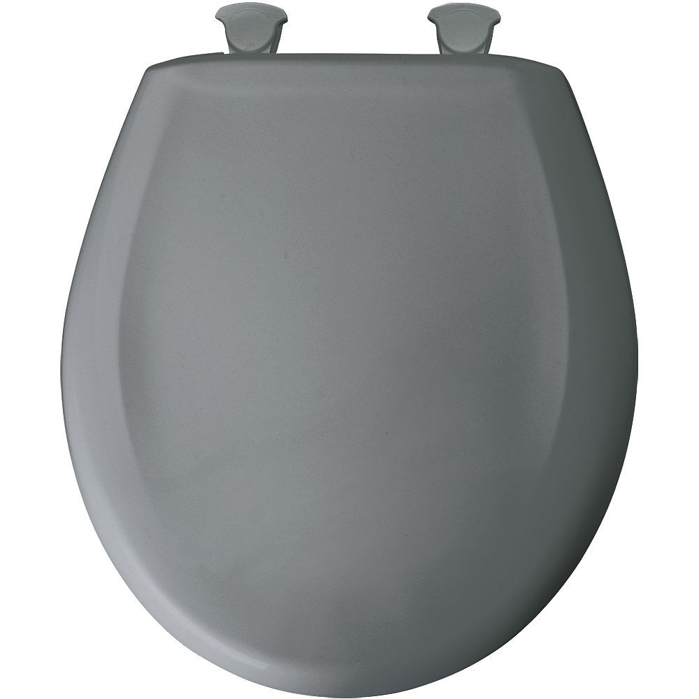 Bemis Round Plastic Toilet Seat with Whisper Close and Easy Clean & Change Hinge in Classic Grey
