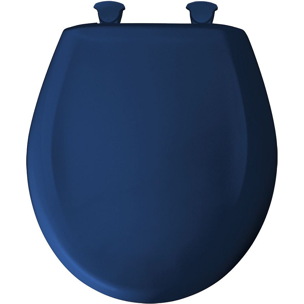 Bemis Round Plastic Toilet Seat with Whisper Close and Easy Clean & Change Hinge in Colonial Blue