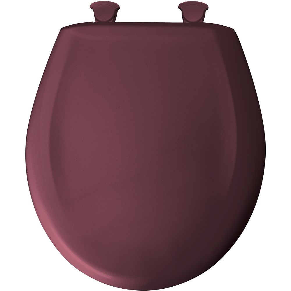 Bemis Round Plastic Toilet Seat with Whisper Close and Easy Clean & Change Hinge in Loganberry