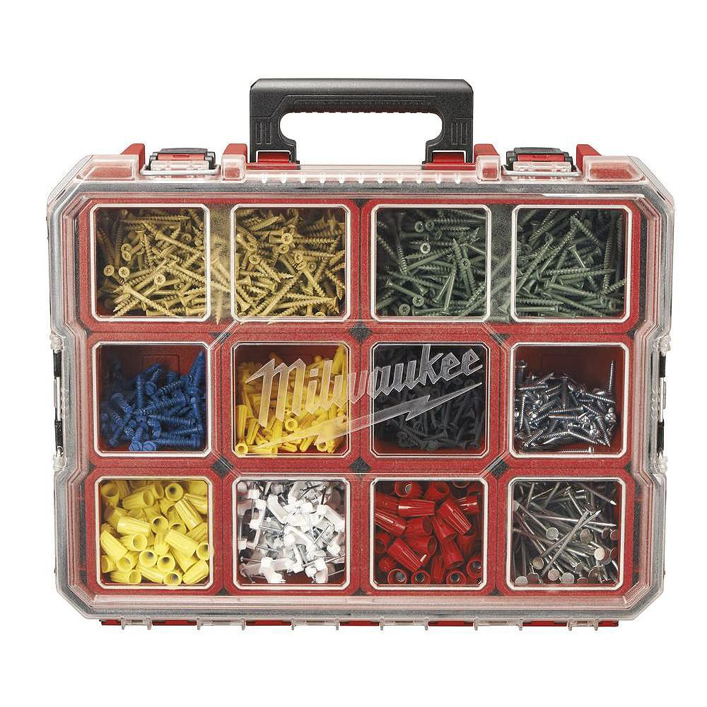 12-Compartment Red Deep Pro Small Parts Organizer