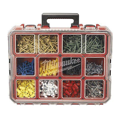 Boîte de rangement pour petites pièces à 10compartiments DeepPro, rouge