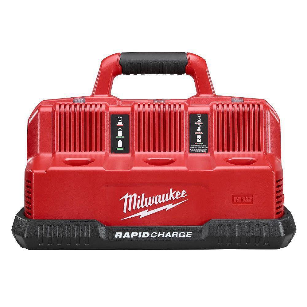 Milwaukee Tool Chargeur de batterie séquentiel rapide multi-tension M12 et M18 12V/18V lithium-ion 6 ports (3 ports M12 et 3 ports M18)
