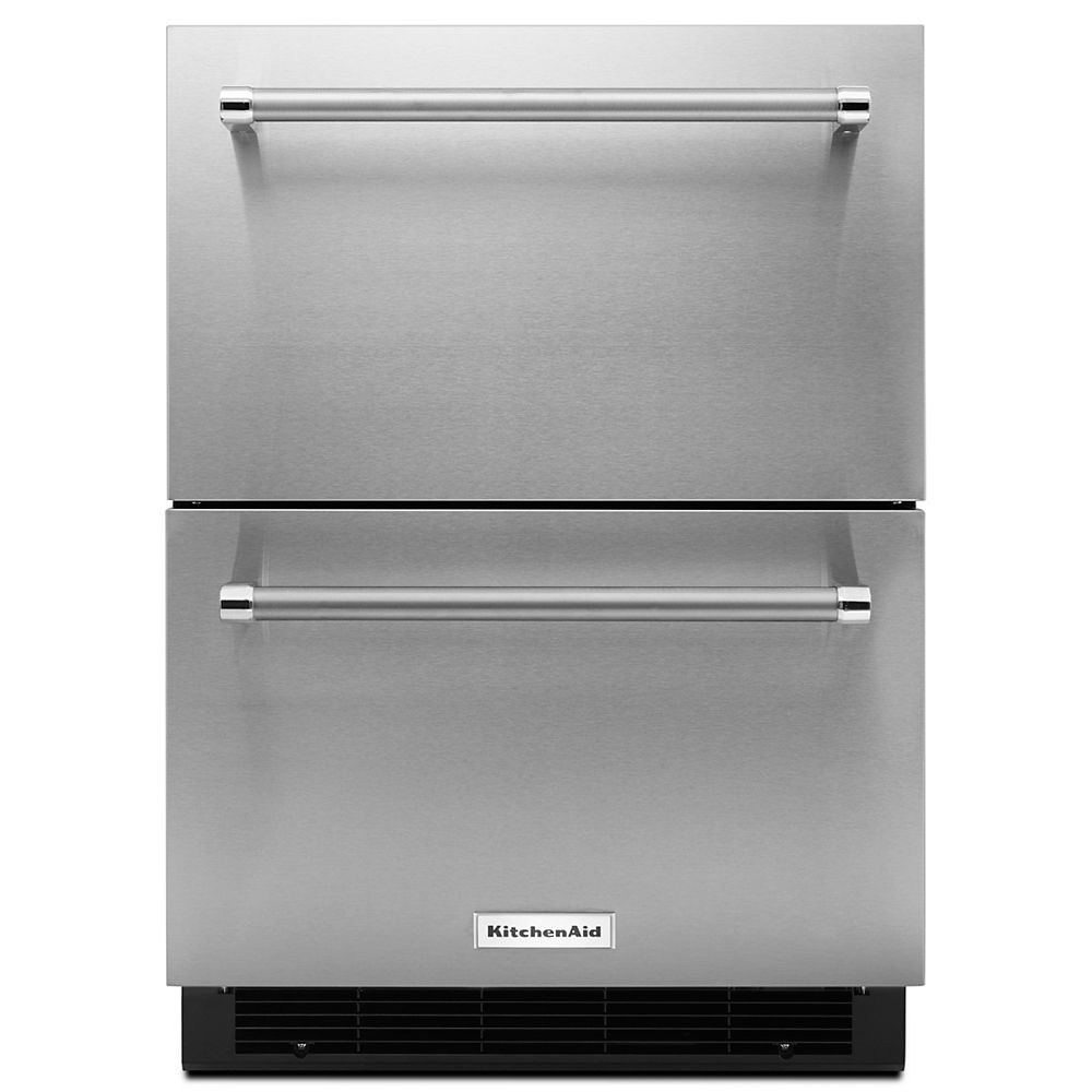 KitchenAid 24-inch W 4.7 cu. ft. Double Drawer Fridge in Stainless Steel, Counter Depth